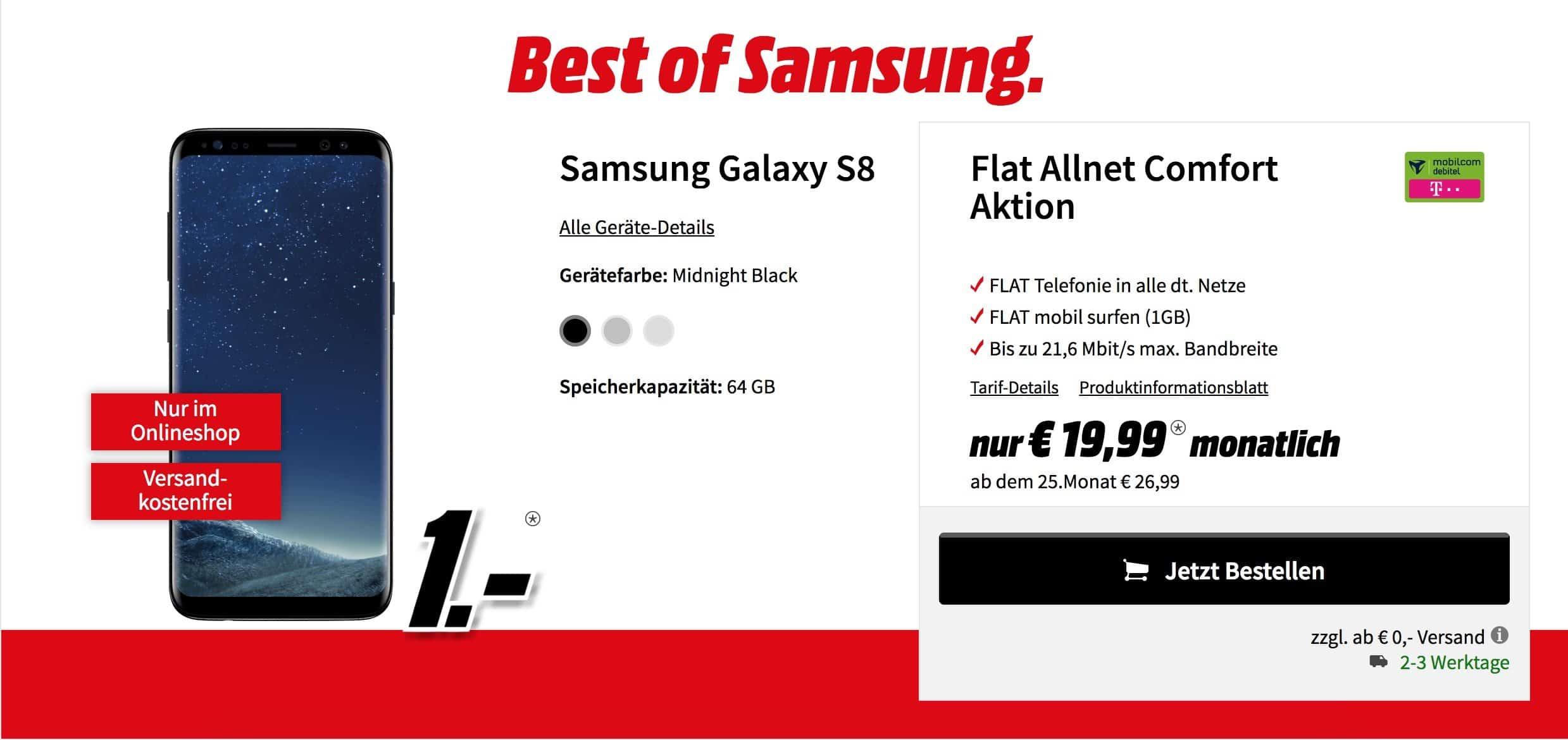 Samsung Galaxy S8 mit Vertrag und 236€ Ersparnis