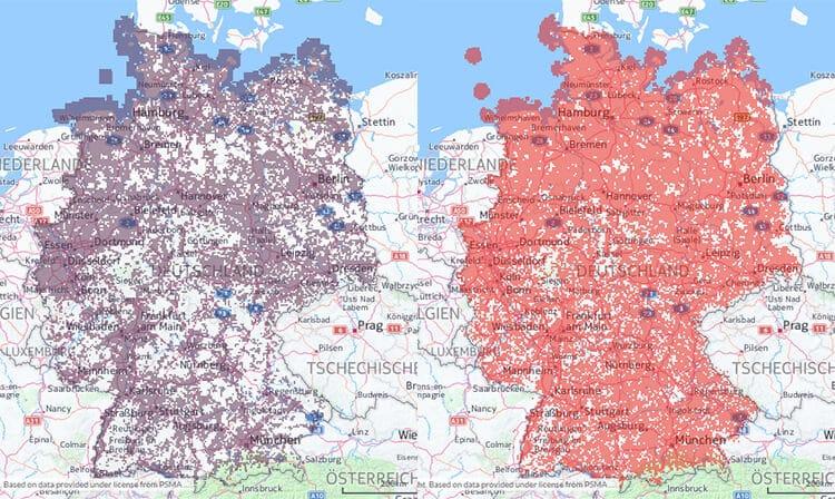 Vodafone Netzabdeckung: LTE links | 3G rechts